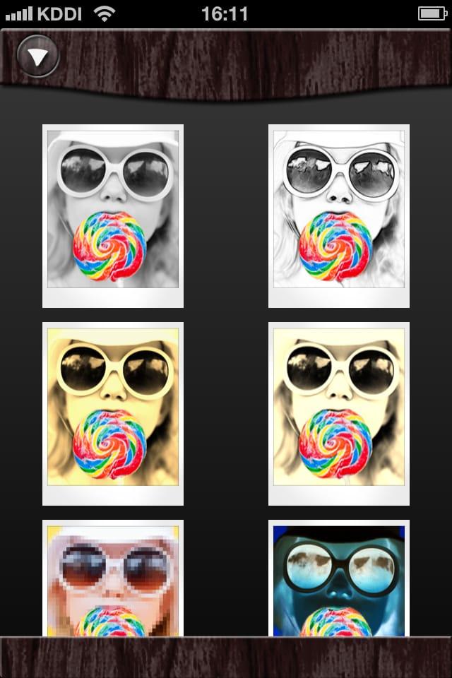 モノクロ写真に一部カラーという画像加工ができるカメラプリ8