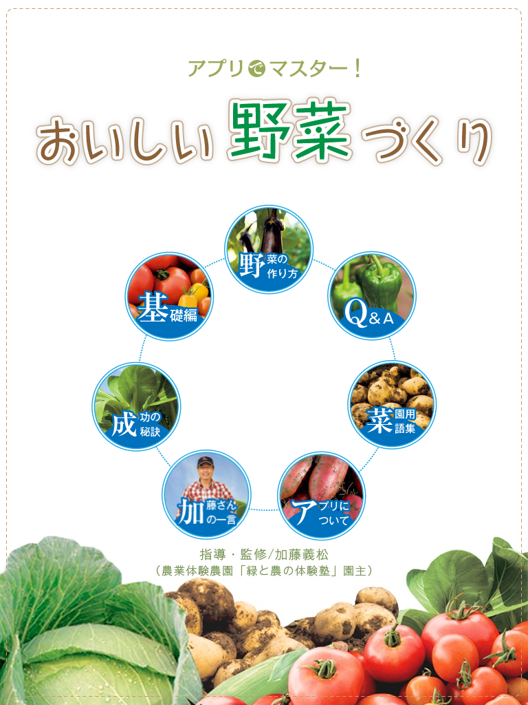 アプリでマスター! おいしい野菜づくり:野菜の育て方を丁寧に教えてくれる!!