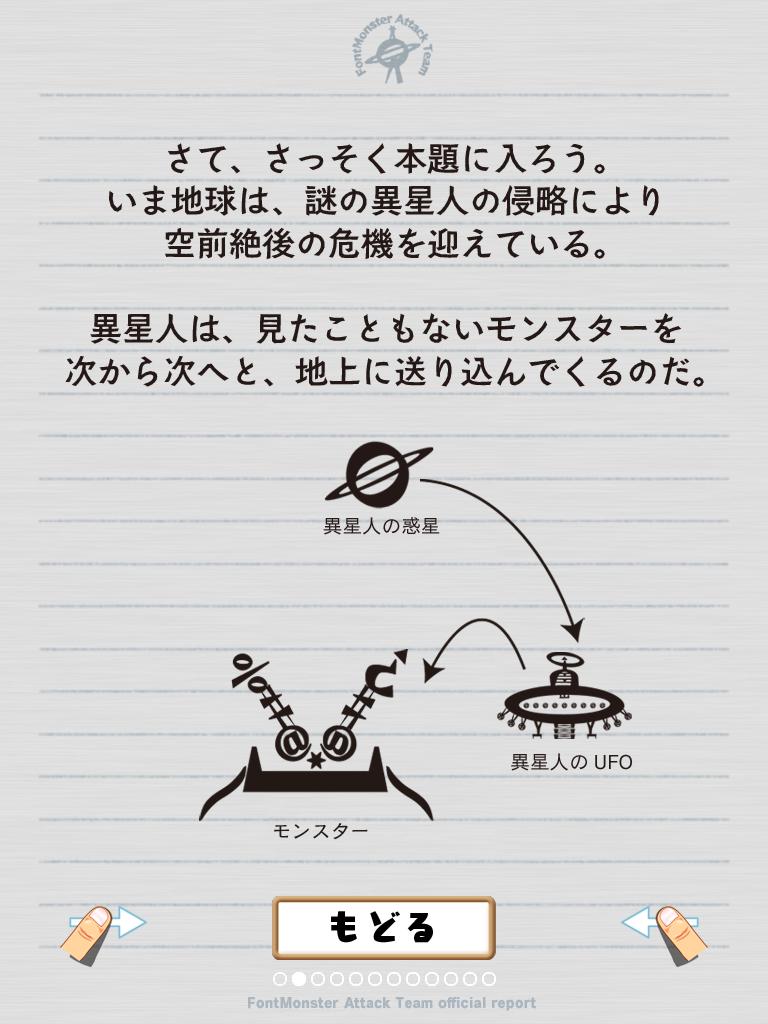 フォント・モンスター無料版:文字を使ったカジュアルシューティングゲームiPhoneアプリ