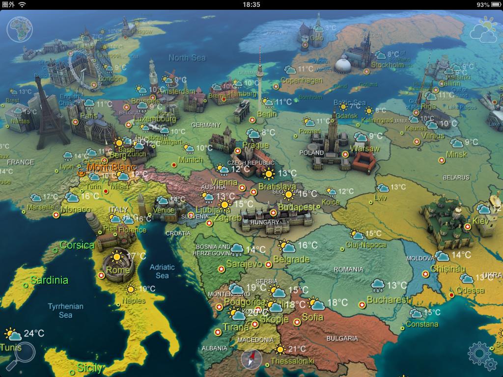 Earth 101 for iPad:素晴らしい!1100以上の建築物を3Dで確認できるGoogle Earth型の地球儀アプリ【iPadで旅行】