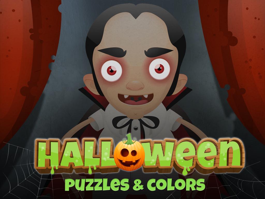 Halloween : ハロウィーンに遊ぼう!!子供のためのパズルと塗り絵♪♪