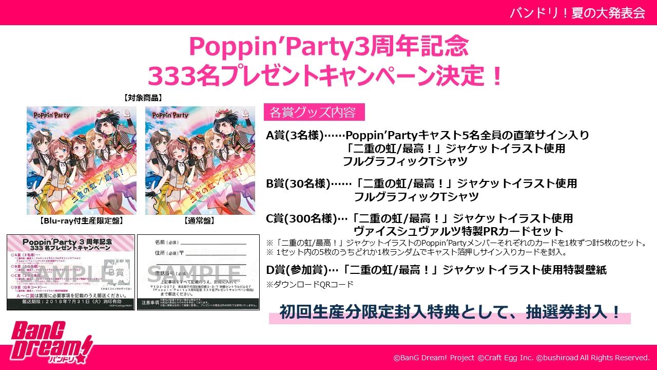 Poppin'Party3周年記念333名プレゼントキャンペーン決定!