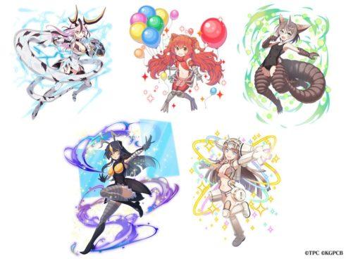 上段:エレキング(左)、ピグモン(中央)、ゴモラ(右) 下段:ゼットン(左)、キングジョー(右)